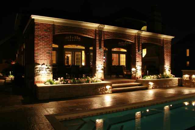 Water garden Lighting in St Louis Missouri Pool